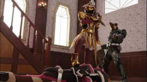 仮面ライダーバスターと仮面ライダースラッシュをあしらう仮面ライダーサーベラ